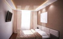 Натяжной потолок в маленькую спальню дизайн люстры споты подсветка