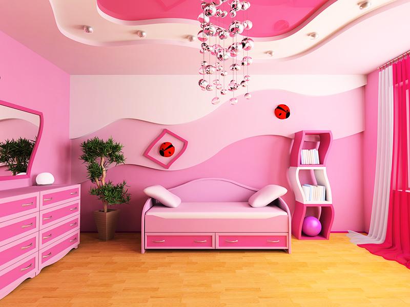 Дизайн потолков детской комнаты для девочки
