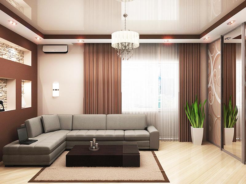 Натяжные потолки в зале дизайн